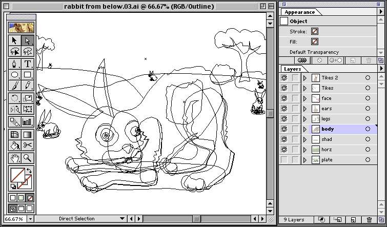 Illustrator Rabbit Wireframe