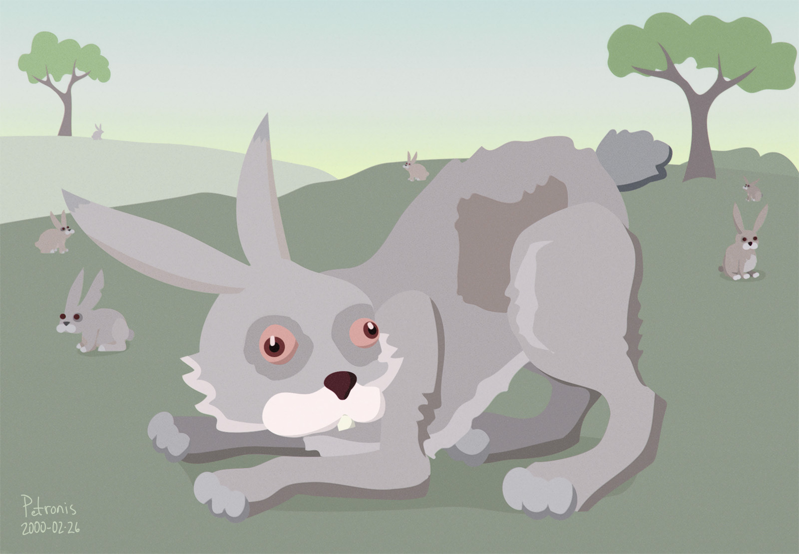 Red-Eyed Cartoon Rabbit