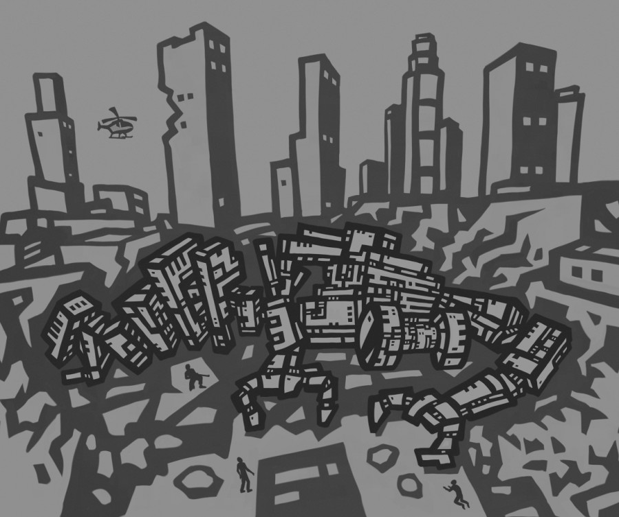 Cartoon of a large vanquished robot