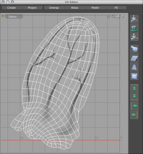 Veins locked into place using modo's UV editor.