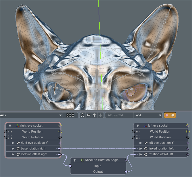 Eyeball motion linked together using modo's schematic panel.
