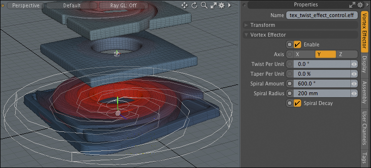The Foundry Modo weighted rotational deformer at 600°.