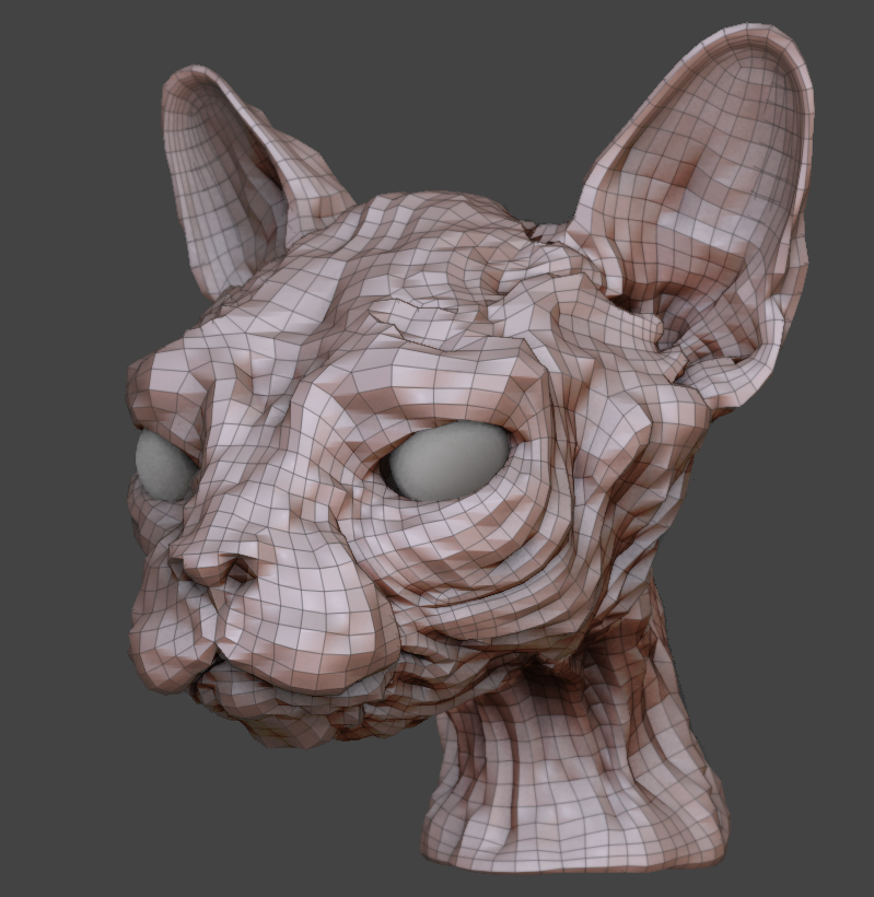 ZBrush mesh at its lowest subdivision level.