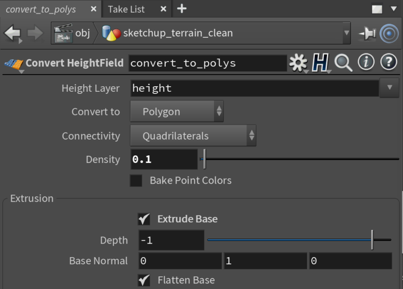 Houdini - convert heightfield to polygons.