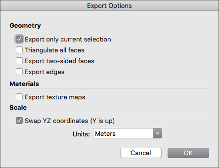 SketchUp export settings.